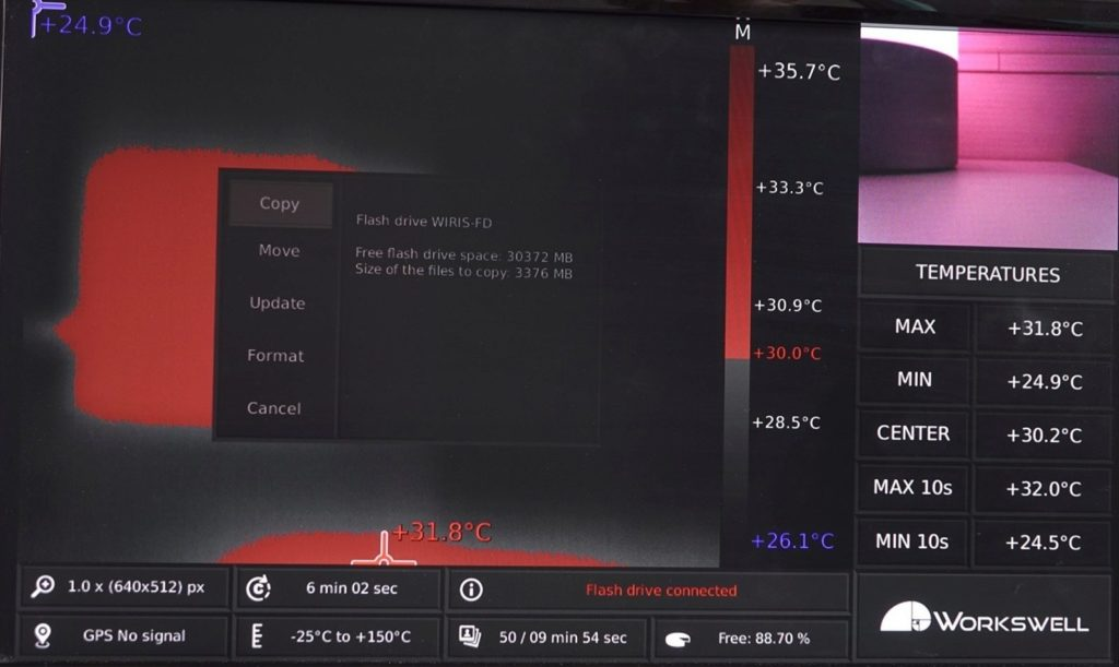 Workswell Wiris 640 - přenos souborů, flash disk