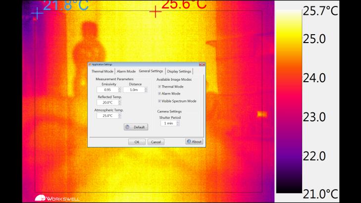 Workswell Thermal Vision Pro - nastavení parametrů