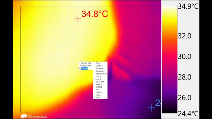 Workswell Thermal Vision Pro - nastavení parametrů, paleta