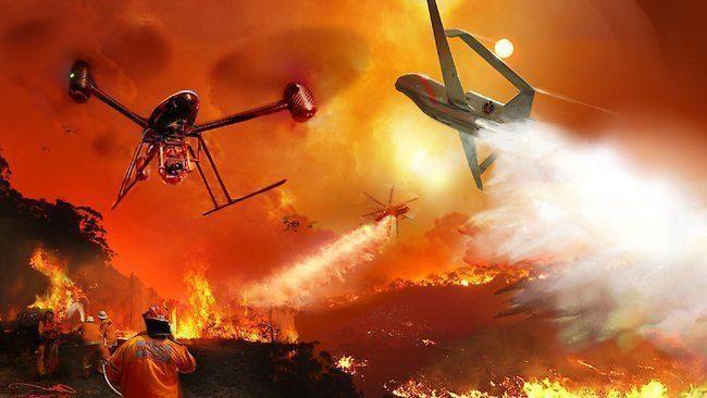 bezpečnost - dron, požár