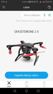 Ehang Ghostdrone aplikace výběr drona